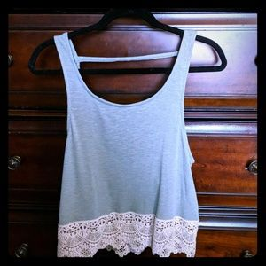 🎇SALE🎇 NWT*Green crochet trim crop tank